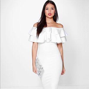 Sexy White ruffle dress